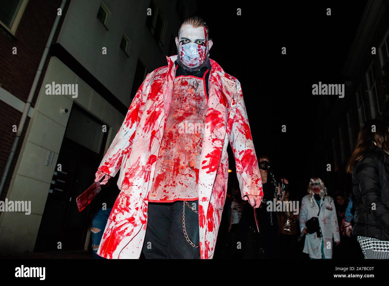 Halloween Arnhem.Arnhem Netherlands 31st Oct 2019 A Man Looking Like A Zombie Is Seen Walking On The