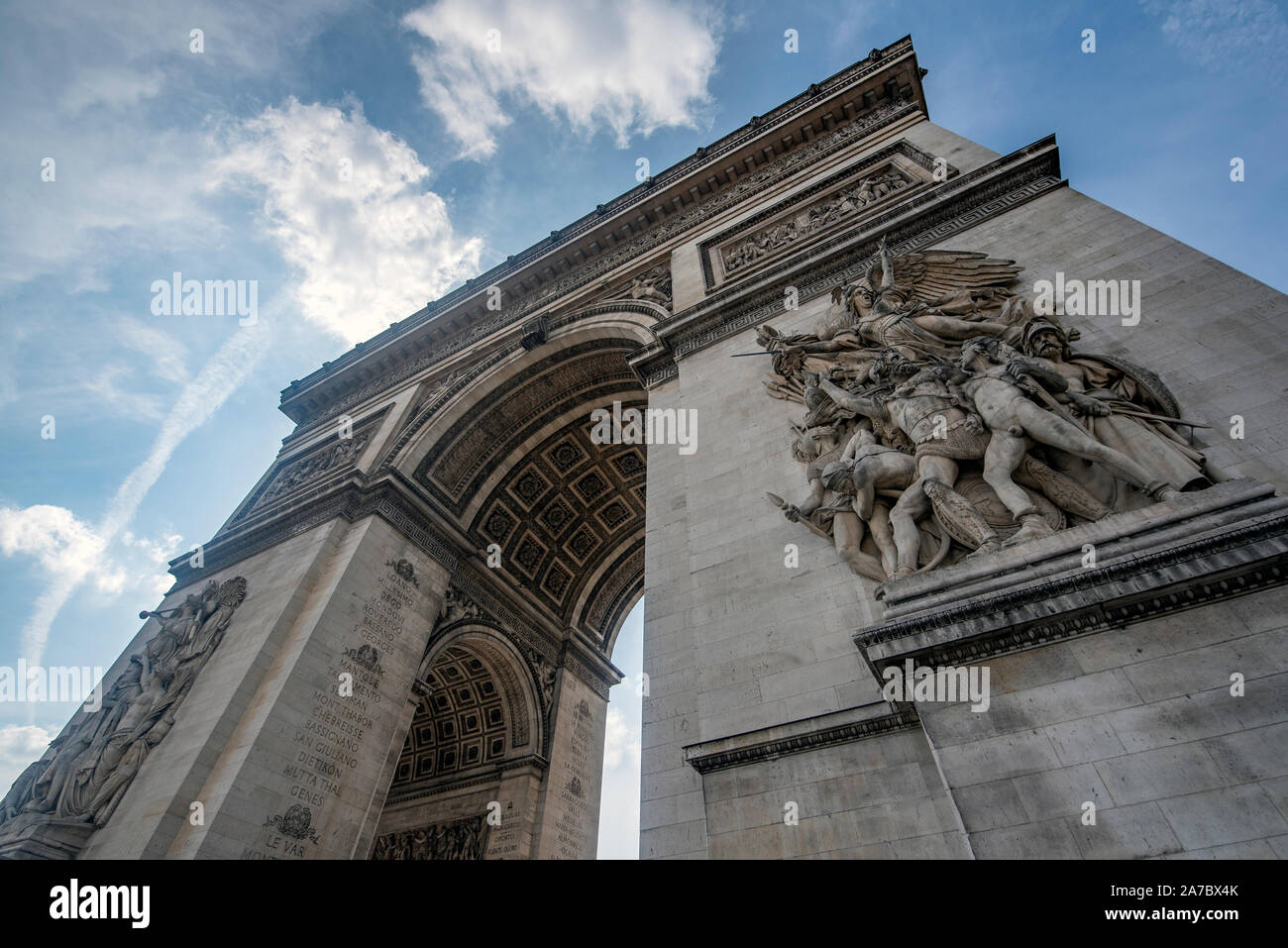 An emblematic monument of Paris, the Arch of Triumph, built between 1806 and 1836 by order of Napoleon Bonaparte to commemorate the victory at the Bat Stock Photo