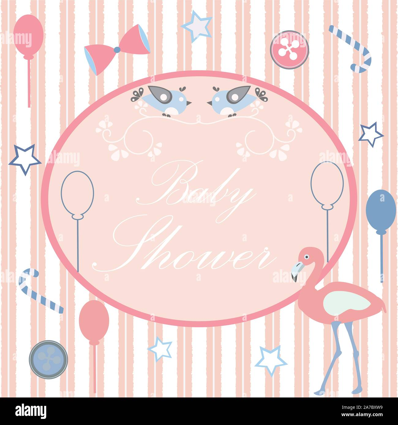baby shower card design with message pink background with pink stripes vector illustration 2A7BXW9