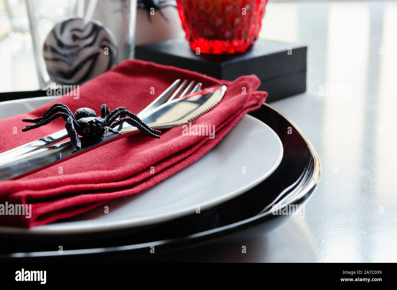 Close Up Of Halloween Table Settings In Red Black Colors Happy Halloween Party Concept Stock Photo Alamy