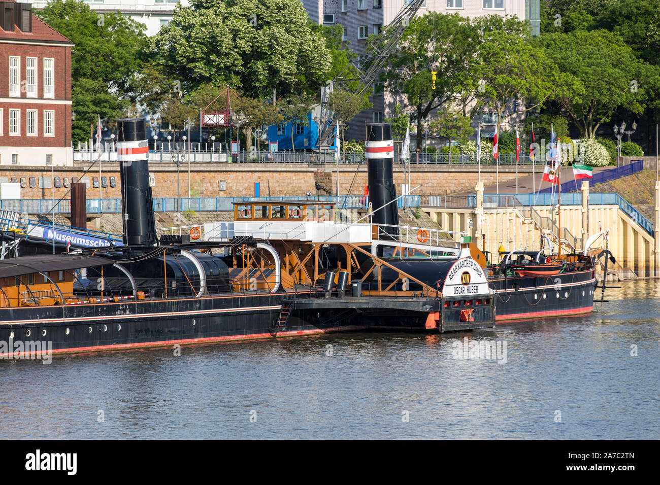 Duisburg-Ruhrort, museum ship Oscar-Huber, Museum of German Inland Navigation, in the port of Ruhrort, Stock Photo