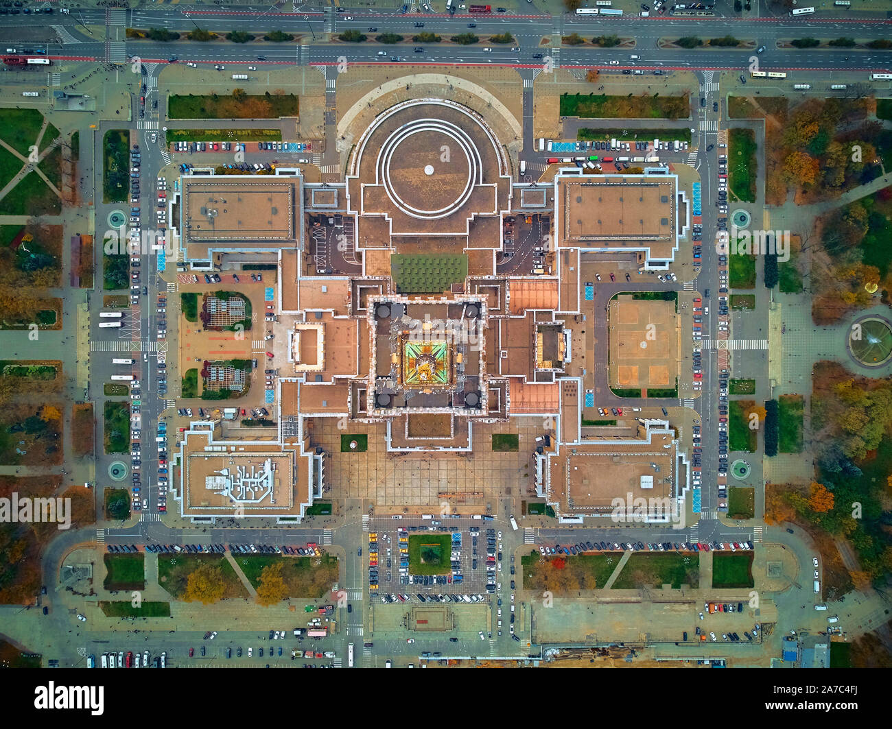 WARSAW, POLAND - OCTOBER 19, 2019: Beautiful panoramic aerial view - look down from above - to the tower of Palace of Culture and Science (PL: PKiN - Stock Photo