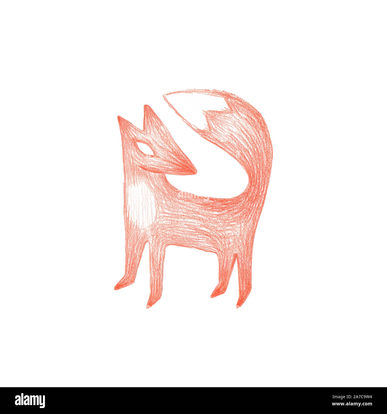Hand Drawn Red Fox Children Book Cute Sketch Illustration
