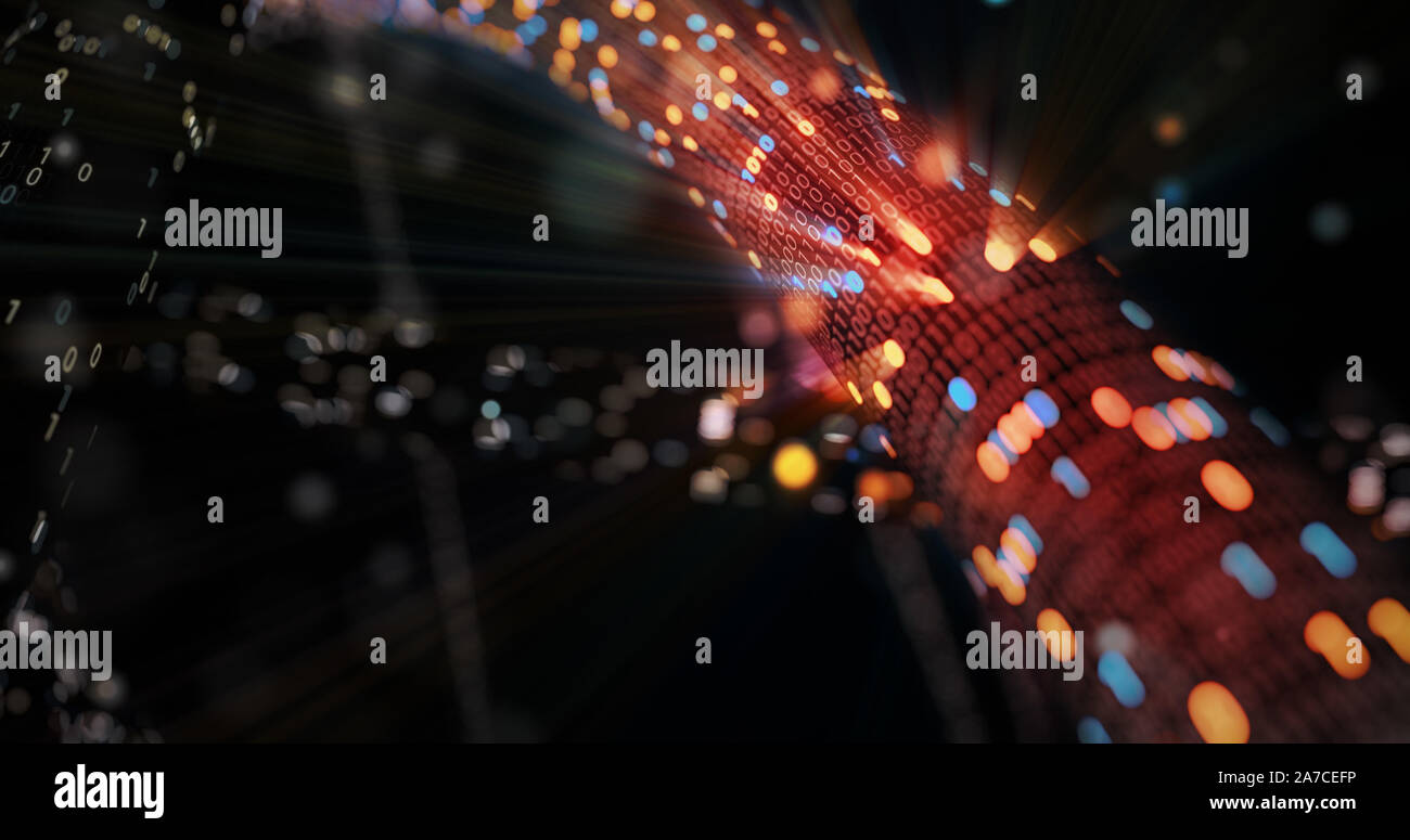 Hacking red and blue digital binary code matrix 01 background. Hacker, dark web, matrix, Digital data code in safety security technology concept. 3D Stock Photo