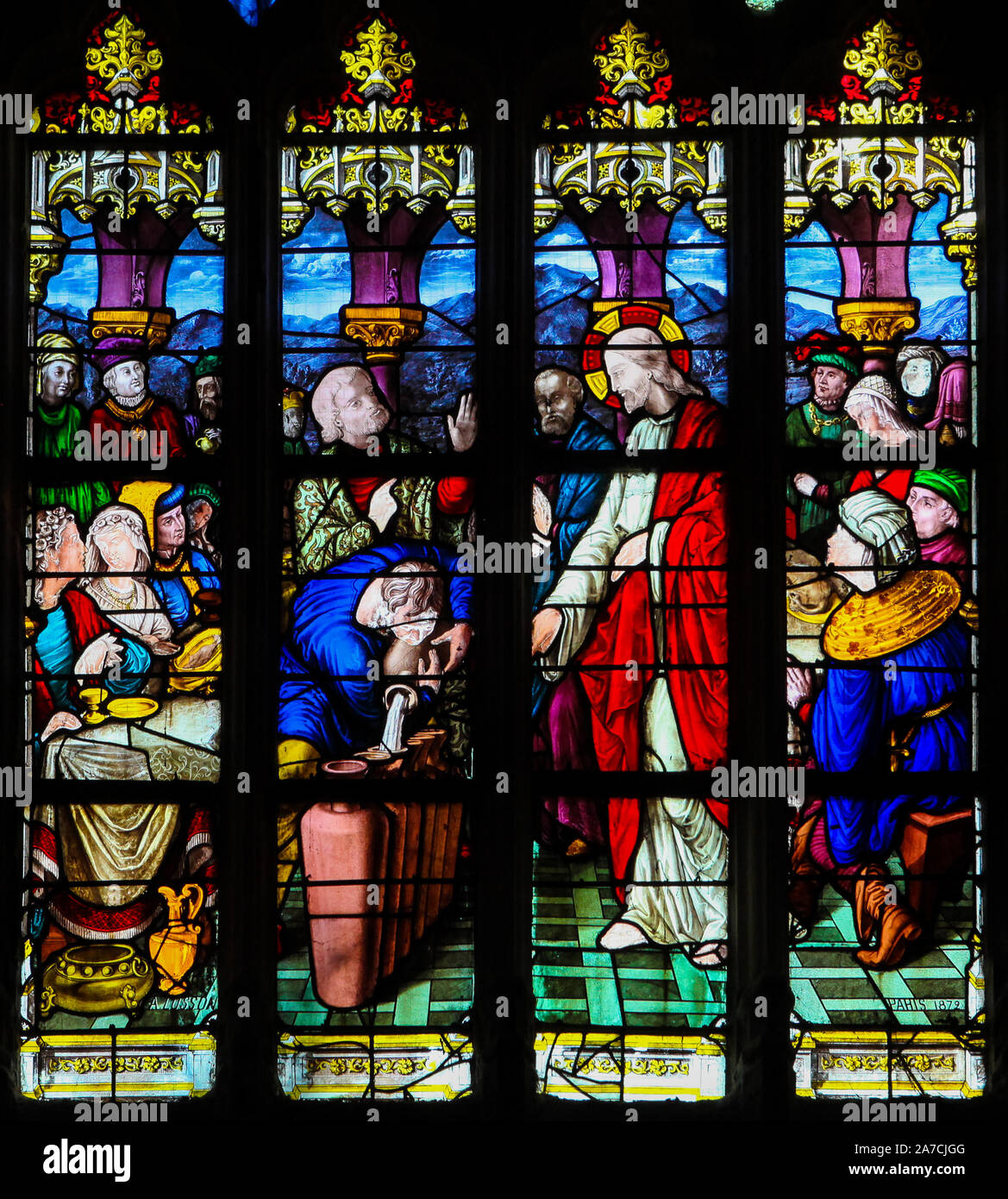 Stained Glass in the Church of St James in Le Treport, France, depicting Jesus and Mary at the Marriage at Cana Stock Photo