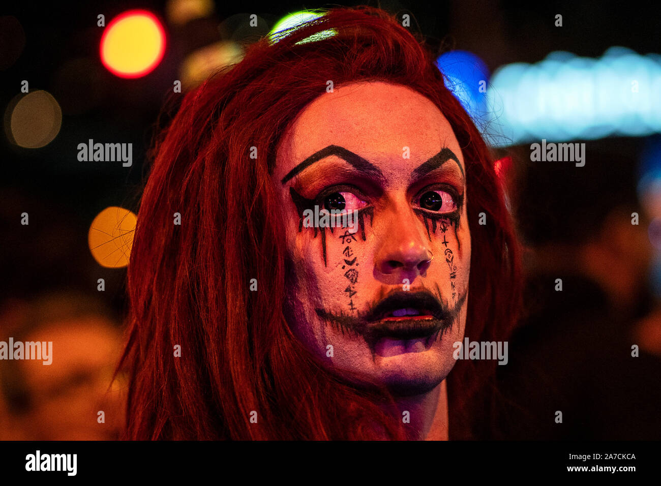 Los Angeles, United States. 31st Oct, 2019. An attendee dressed in a costume attends the Halloween Carnival in West Hollywood, California.The event takes place along the world-famous Santa Monica Boulevard and is known as the world's largest Halloween party and attracts an estimated 500,000 people. Credit: SOPA Images Limited/Alamy Live News Stock Photo