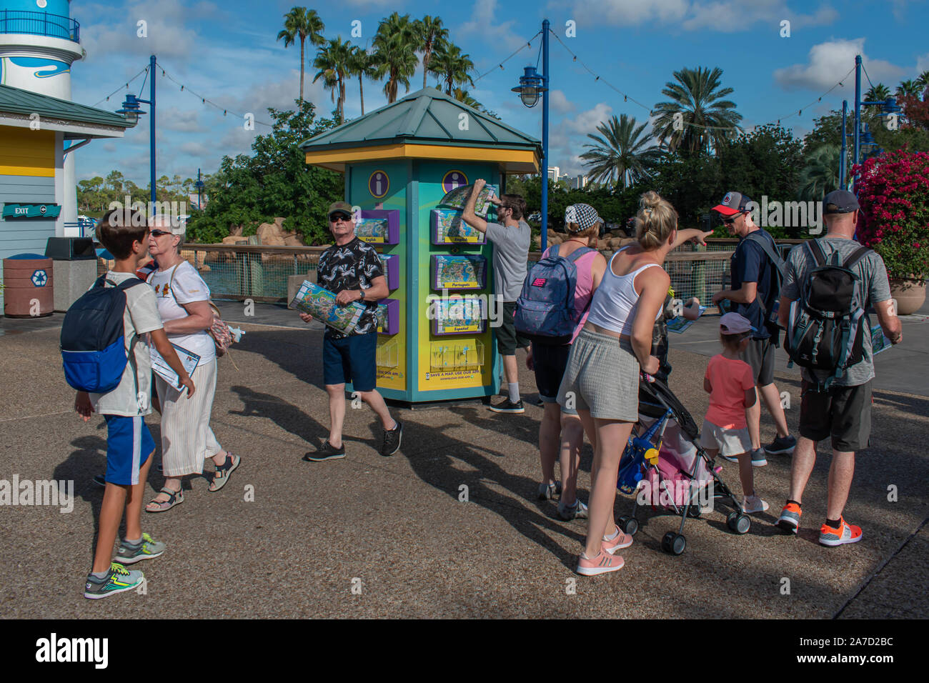 Orlando, Florida. October 29, 2019. People taking maps from ...