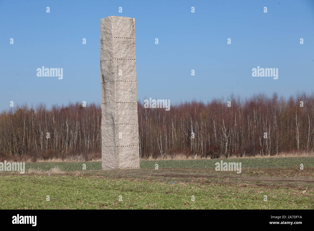 The Clovis stele commemorates the battle of Tolbiacum (Zuelpich) of the Franks against the Alemanni in the year 496. Stock Photo