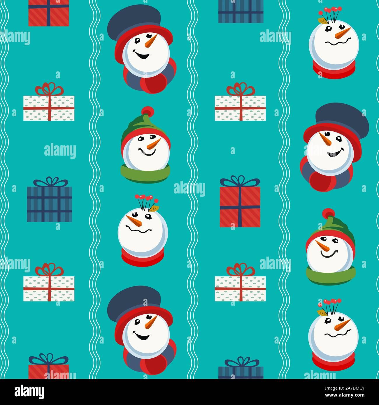 cute snowman hand drawn vector seamless pattern holiday cartoon fun snowball merry christmas winter season decorative wallpaper new year eve web ba 2A7DMCY