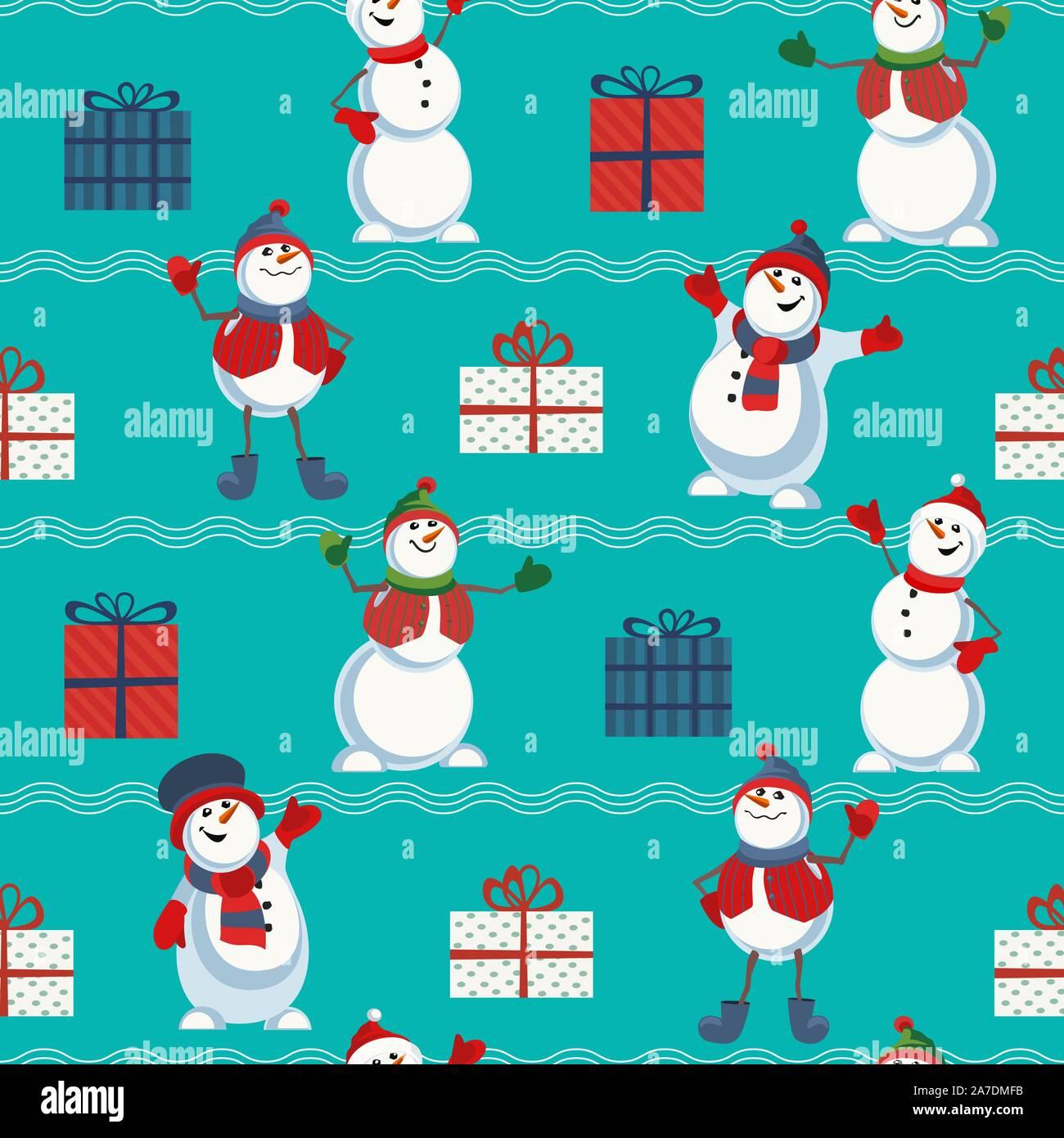 cute snowman hand drawn vector seamless pattern holiday cartoon fun snowball merry christmas winter season decorative wallpaper new year eve web ba 2A7DMFB