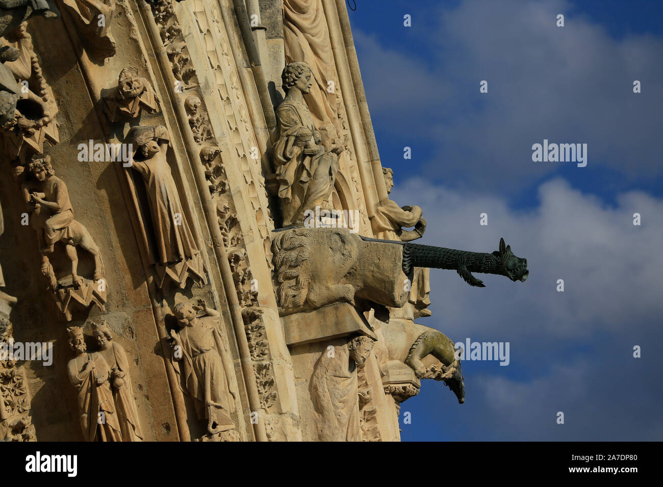 Close-up of Gargoyles on the facade of Cathedral de Notre-Dame, Reims, Champagne, France Stock Photo