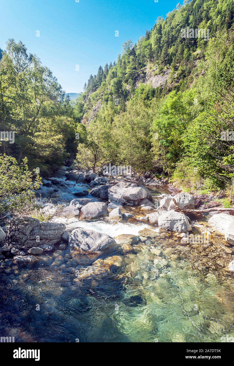 River in the Benasque valley in the Pyrenees mountains Stock Photo