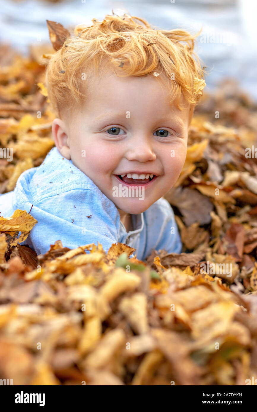 Portrait of happy little red hair boy lying in the middle of colorful autumn leaves Stock Photo