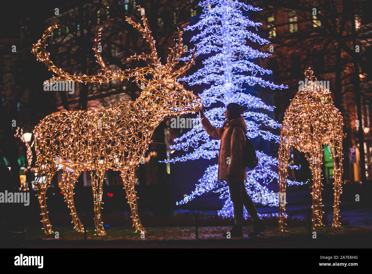 Christmas Decorations In The Historical Center Streets Of Helsinki With Evening Light Illumination Concept Of Christmas In Finland With Cathedral Stock Photo Alamy