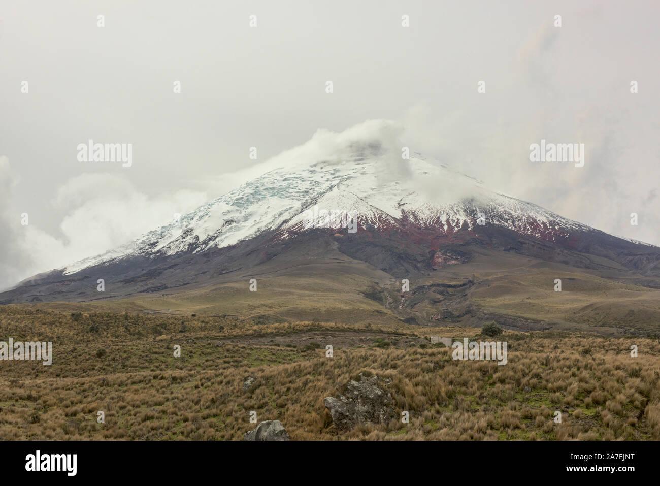 Cotopaxi volcano in the clouds, Cotopaxi Natioanal Park, Ecuador Stock Photo