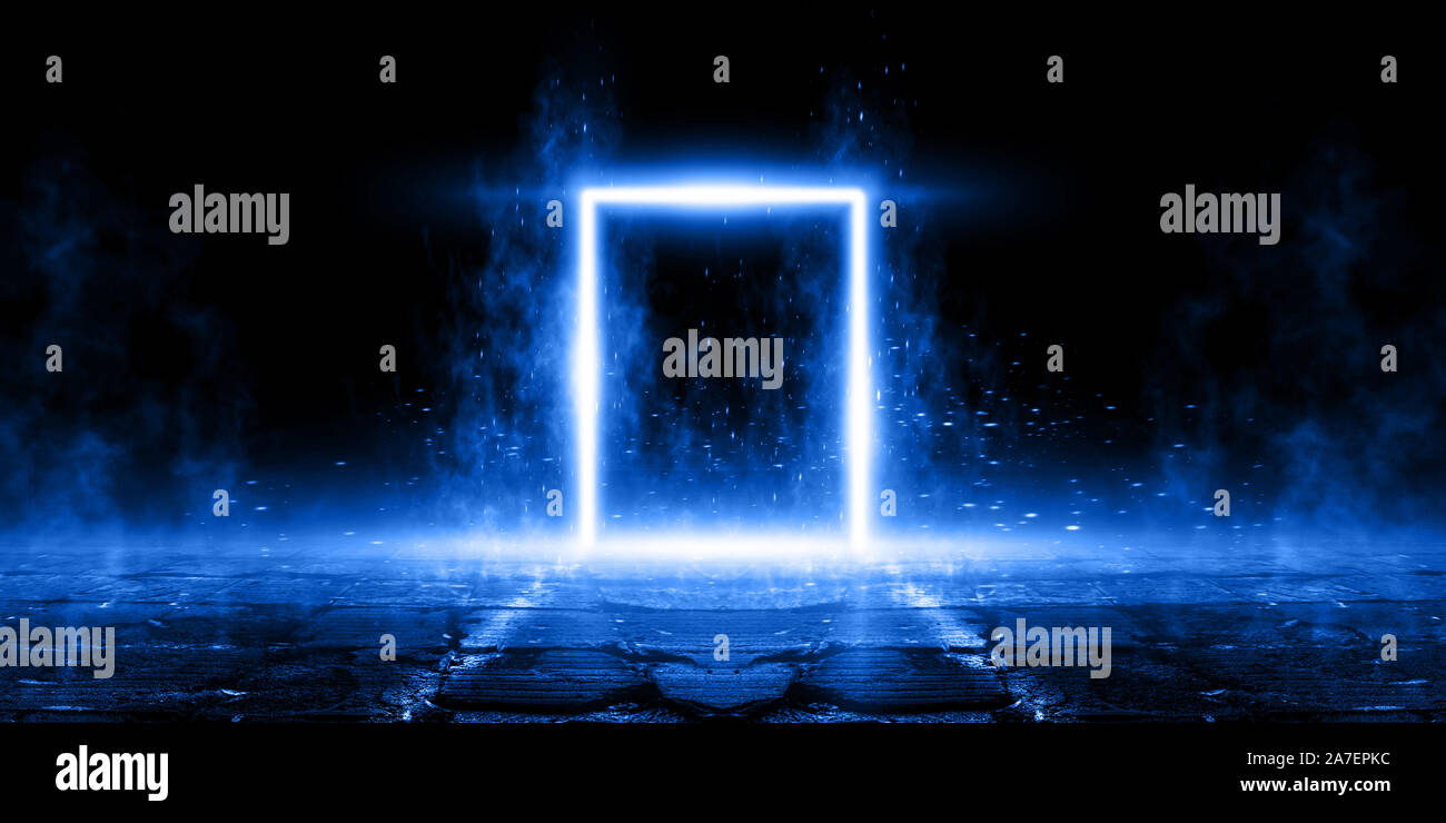 3D Rendering Abstract Door light fantastic scene. empty stage, room with light element, neon light, abstract light. Reflection on the wet surface of n Stock Photo