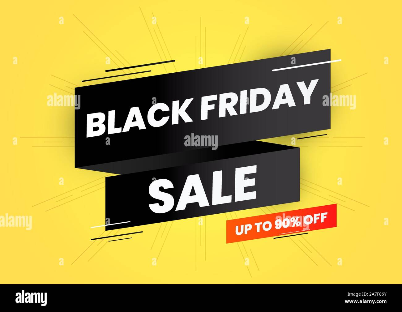 Black Friday Sale Up To 90 Percent Off On Black Ribbon And Yellow Background Web Banner Stock Vector Image Art Alamy