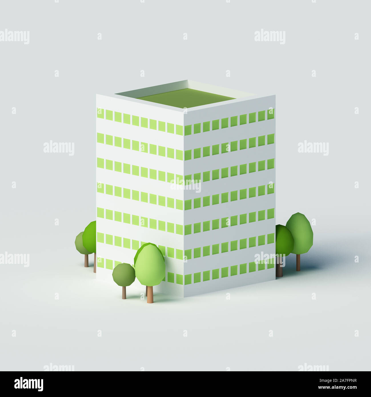 High-rise residential building.  3d rendering, 3d illustration. Stock Photo
