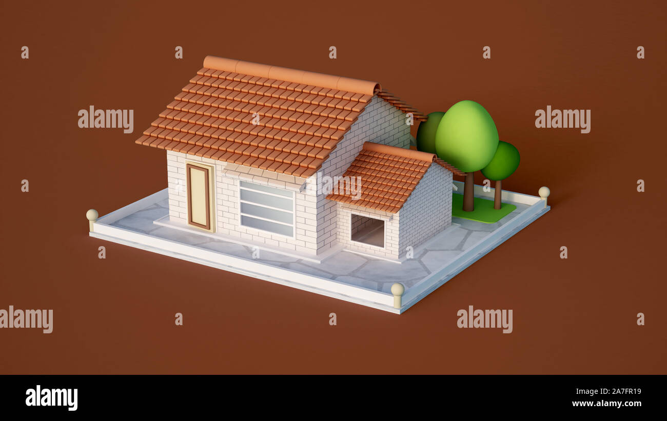 House, cottage with tiles of white brick and trees.  3d rendering, 3d illustration. Stock Photo