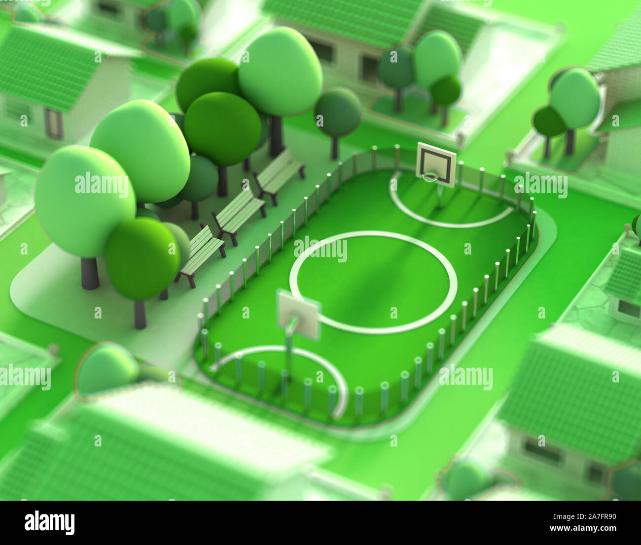 A model of a sports field with a football field.  3d rendering, 3d illustration. Stock Photo