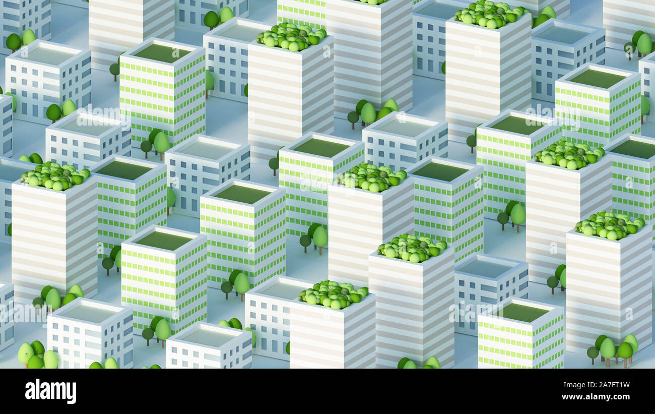 Model of the city with residential buildings. 3d rendering, 3d illustration. Stock Photo