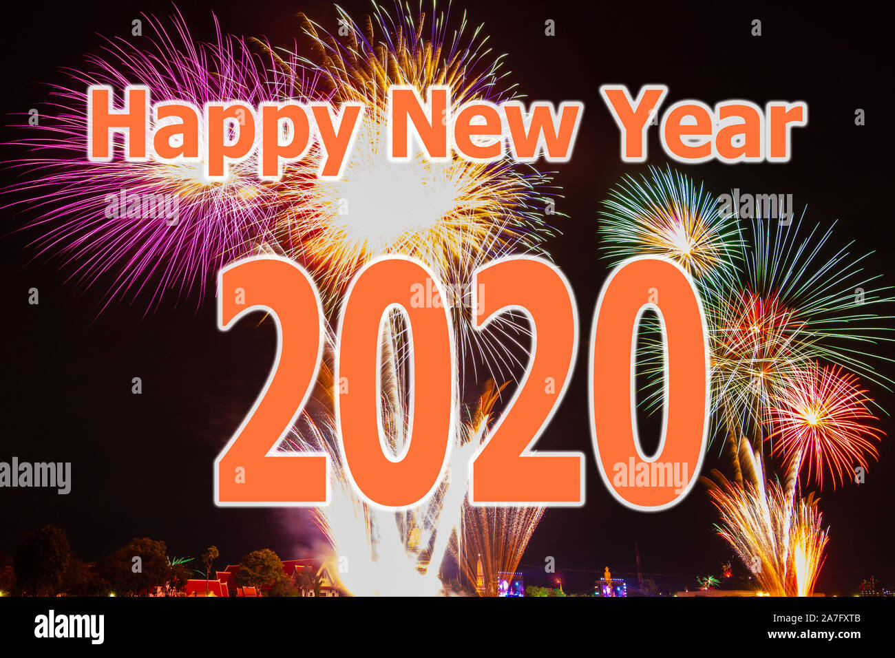 Happy New Year 2020 With Fireworks Festival Background Disign