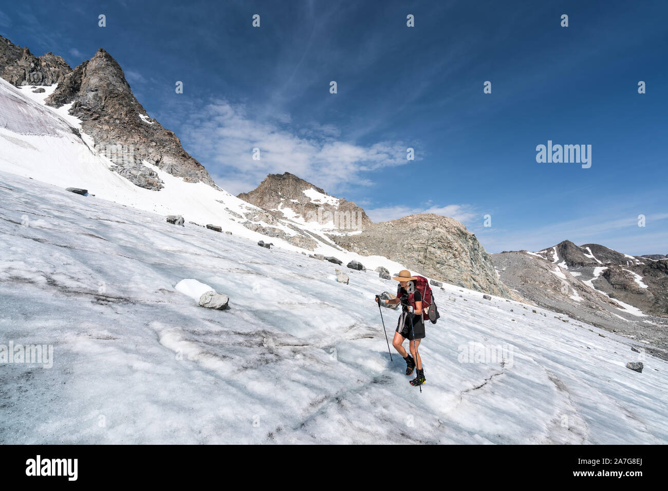 Hiking on the Wind River High Route, Wyoming, USA Stock Photo