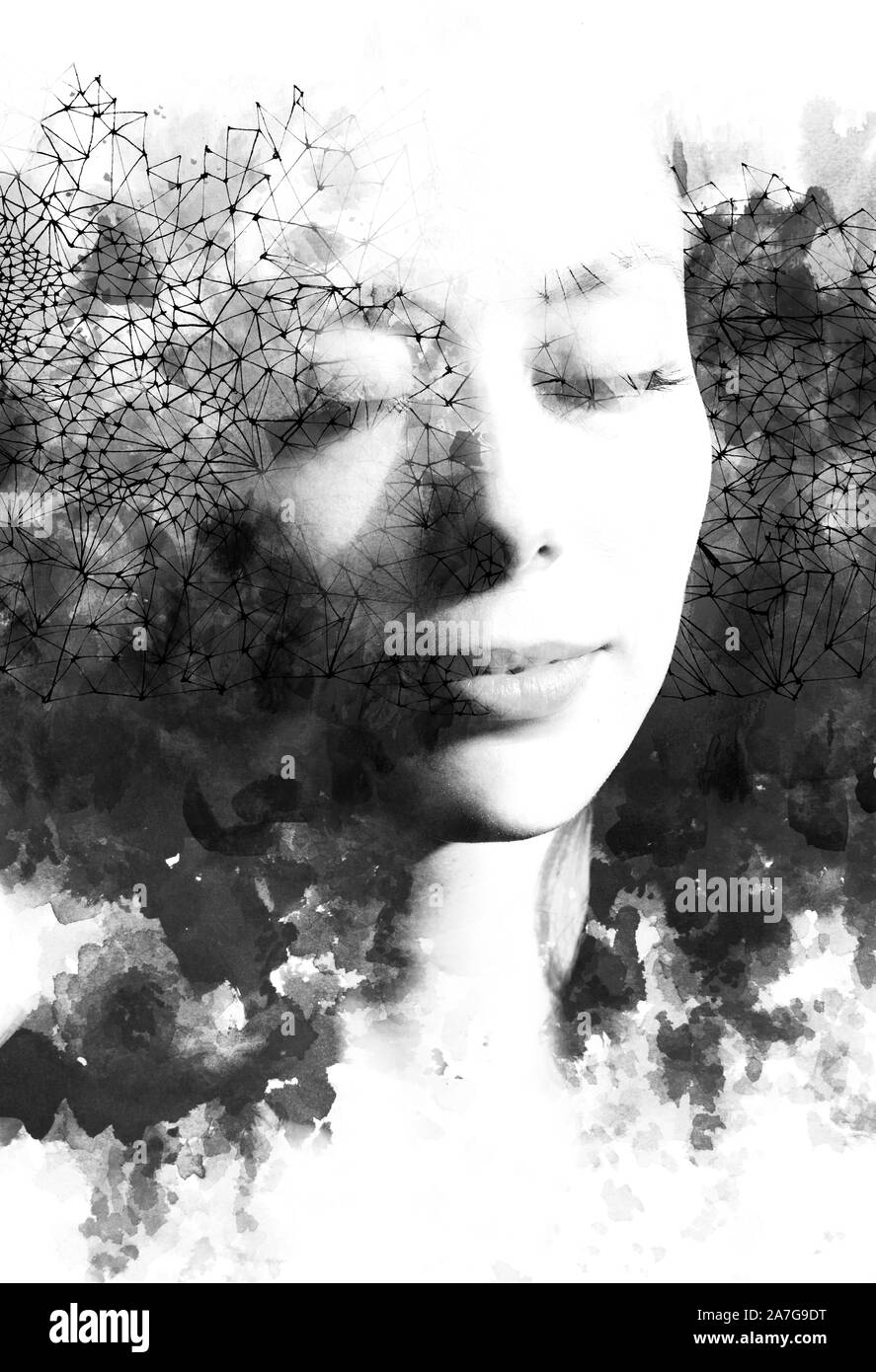 Double exposure. Paintography. Portrait of a beautiful young female model disappearing behind black ink painting and interconnected lines and dots, on Stock Photo