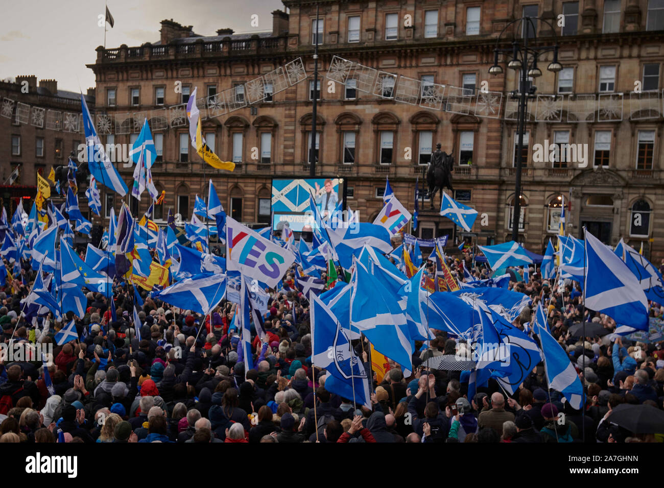 Glasgow, Scotland, UK. 02nd Nov 2019. First Minister Nicola Sturgeon speaks at a rally in support of Scottish Independence which takes place in George Square. credit steven scott taylor / alamy live news Stock Photo