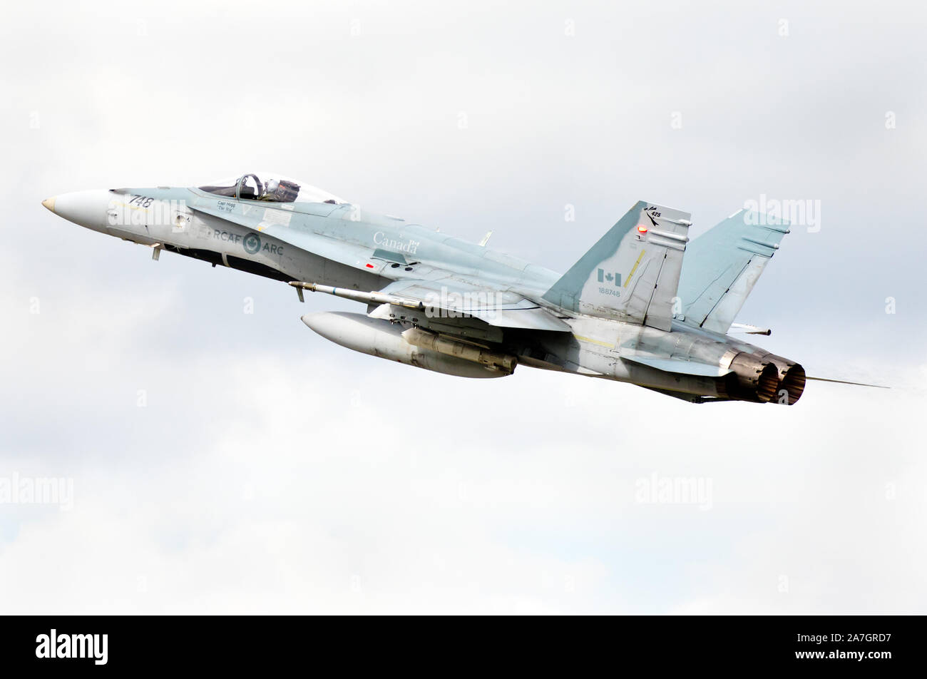A Royal Canadian Air Force CF-18 (RCAF) demonstration at Airshow London, in London, Ontario, Canada. Stock Photo