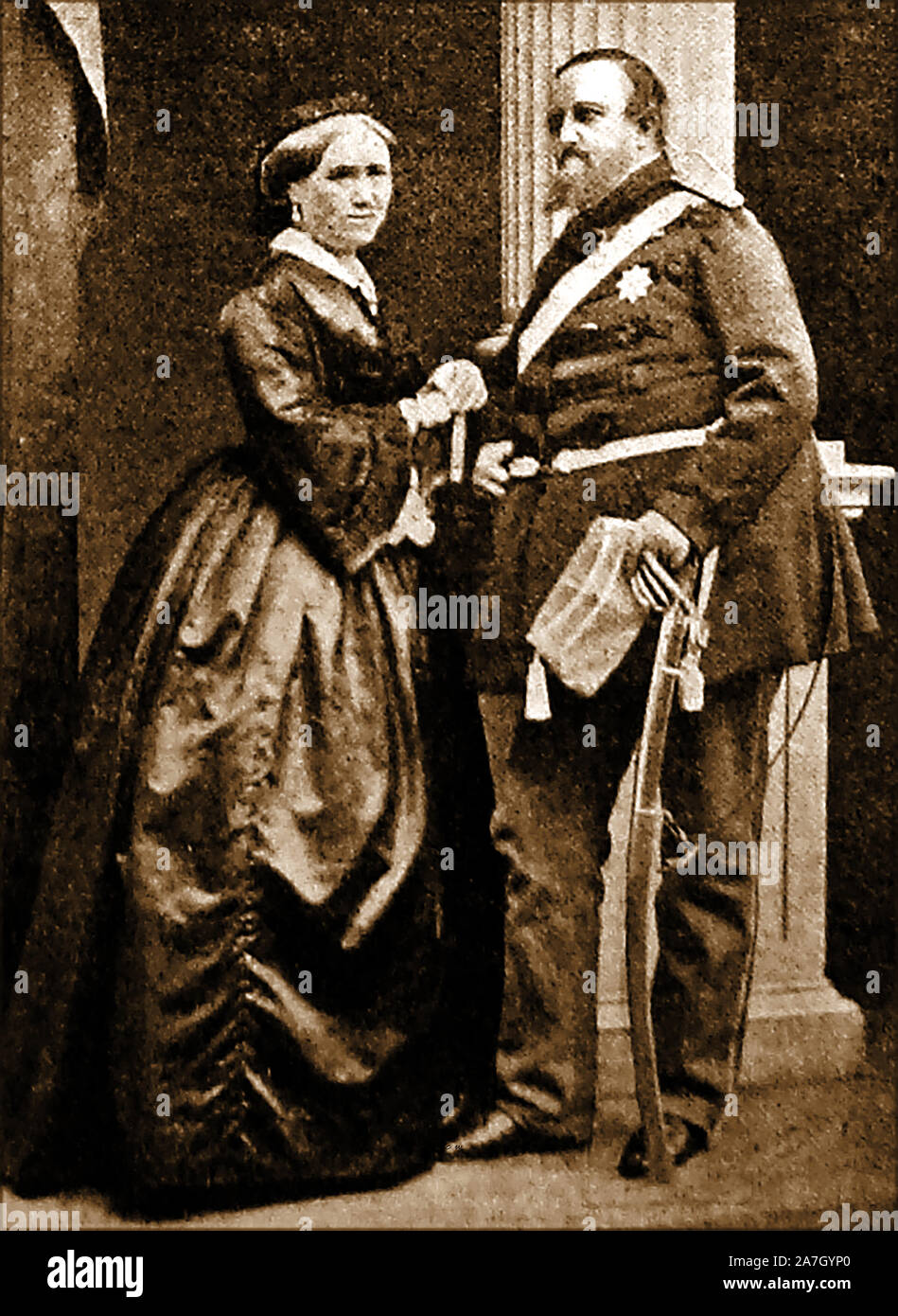 A portrait of King Frederic VII of Denmark (Frederik Carl Christian 1808-1863)  with his Consort Louisa Christina Rasmussen, whom he created Landgravine Danner in 1850 ( Lensgrevinde Danner) She was formerly  a milliner, ballet dancer and the King's alleged  mistress Stock Photo