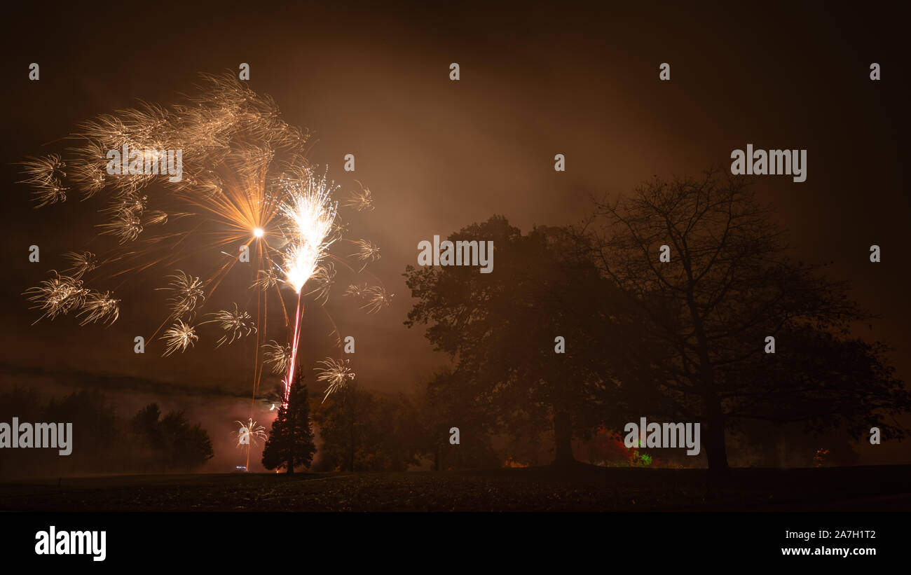 Rudding Park Hotel, Harrogate, UK. 2nd November, 2019. Bonfire Night fireworks are set off in the grounds of Rudding Park Hotel, Harrogate North Yorkshire, UK. Credit: Caught Light Photography/Alamy Live News Stock Photo