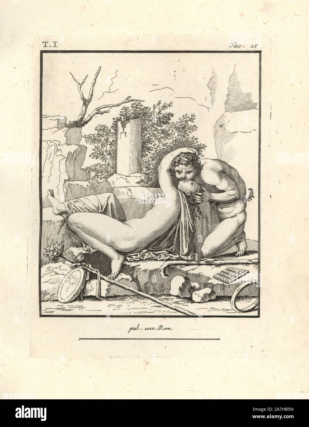 "A bacchant surprised by a faun in a desolate mountain spot. At the faun's feet are his curved stick or pedum, seven-pipe flute or syrinx, and a Rhombus, a percussion instrument like a tambourine. At the bacchant's feet are a sacred staff or thyrsus decorated with a red ribbon, and a typanum drum decorated with a picture of a sistrum. Copperplate engraved by Tommaso Piroli from his own ""Antichita di Ercolano"" (Antiquities of Herculaneum), Rome, 1789.  Italian artist and engraver Piroli (1752-1824) published six volumes between 1789 and 1807 documenting the murals and bronzes found in Heraculane Stock Photo"