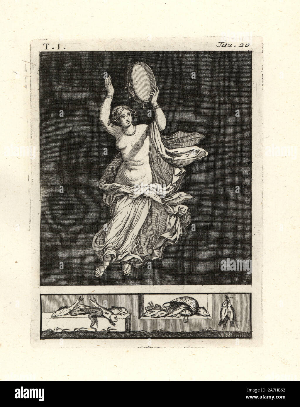 """Painting removed from a wall of a room, possibly a triclinium or dining room, in a house in Pompeii in 1749. It shows a bacchant dancer striking a tympanum or tambourine with her hand. She wears a necklace and bracelets, and a fine robe in white lined with red, the colour of Bacchus. Copperplate engraved by Tommaso Piroli from his own """"Antichita di Ercolano"""" (Antiquities of Herculaneum), Rome, 1789.  Italian artist and engraver Piroli (1752-1824) published six volumes between 1789 and 1807 documenting the murals and bronzes found in Heraculaneum and Pompeii. Stock Photo"""