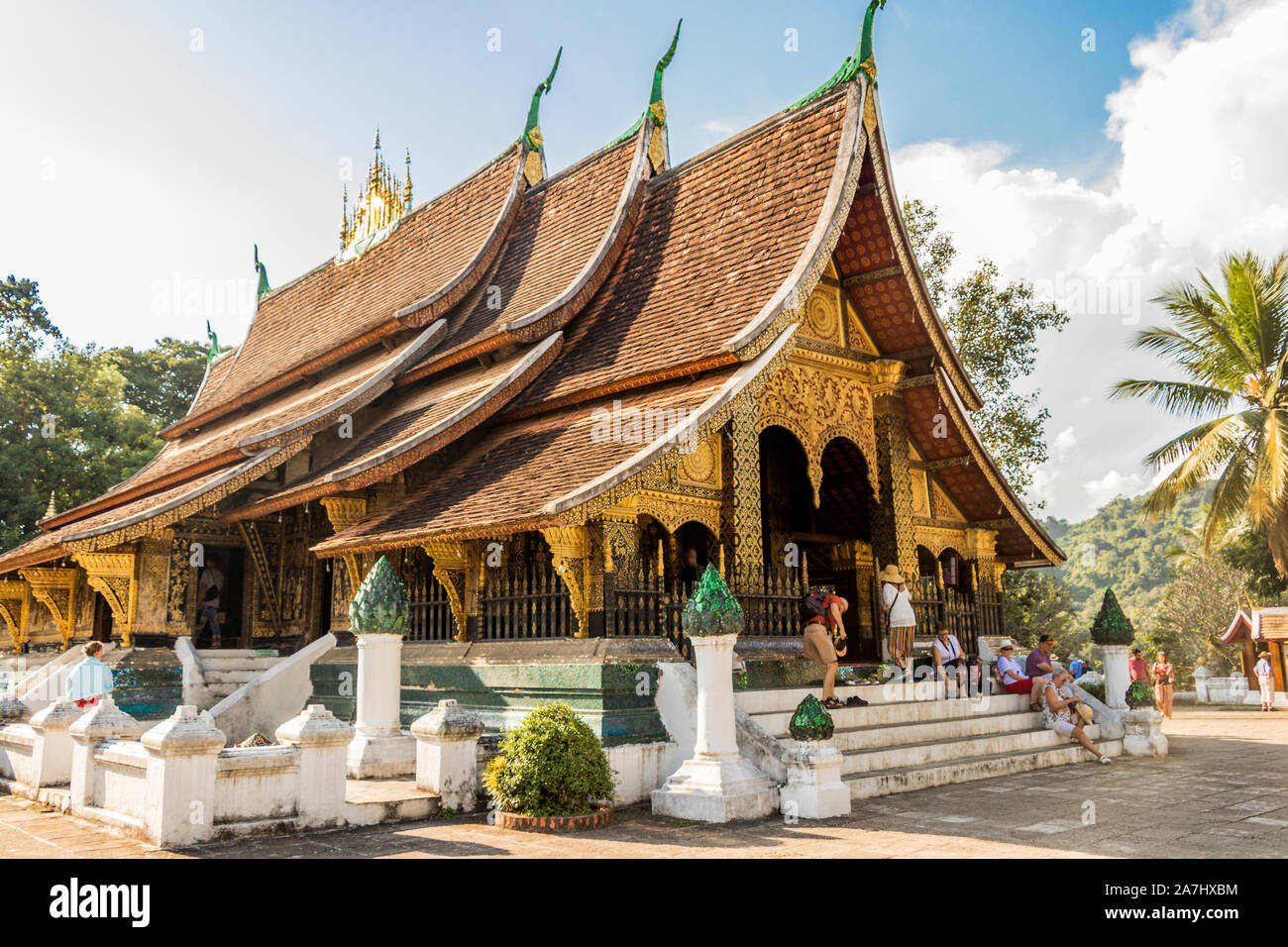 Wat Xieng Thong, temple of the Golden City, a Buddhist temple in Luang Prabang, Laos. Vat Visoun Stock Photo