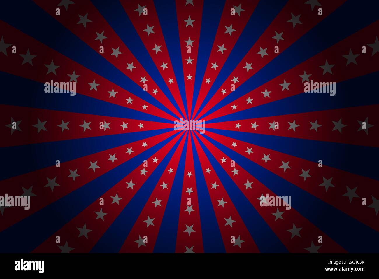 Circus Vintage Background With Rays Vector Red Abd Blue