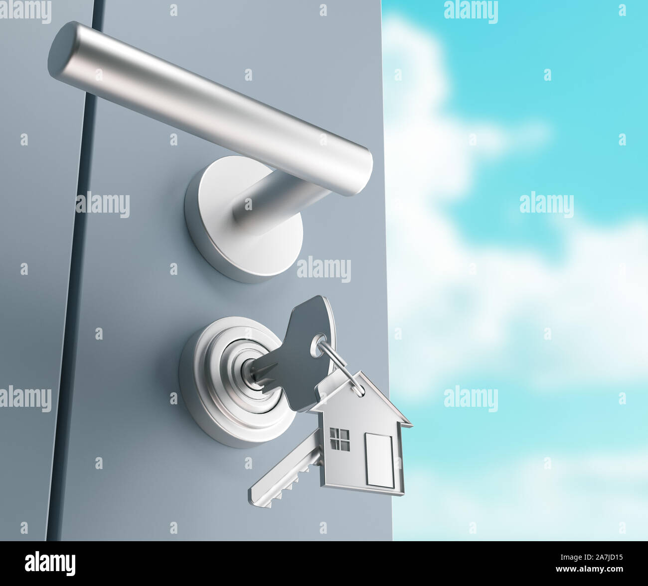 Mortgage, investment, real estate and property concept - close up of house keys. 3d rendering Stock Photo