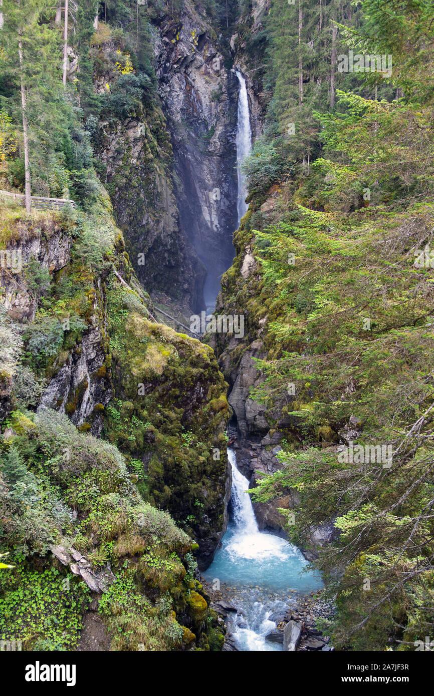 Sulzbach Fall waterfall. Untersulzbachtal. Sulzau. Austrian Alps. Stock Photo