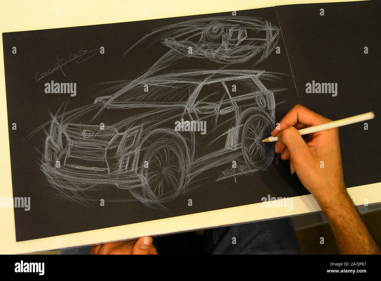 Gaza 22nd Oct 2019 Palestinian Bahi Aldabba Works On A Car Sketch Inside His Office In Gaza City Oct 22 2019 Many People Aspire To Be Car Designers But Few Make It