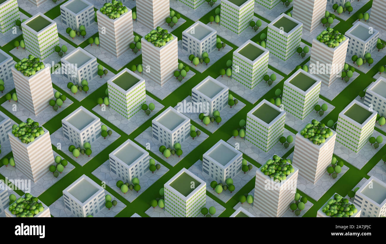 Model of the city with residential buildings. 3d rendering, 3d illustration.. Stock Photo