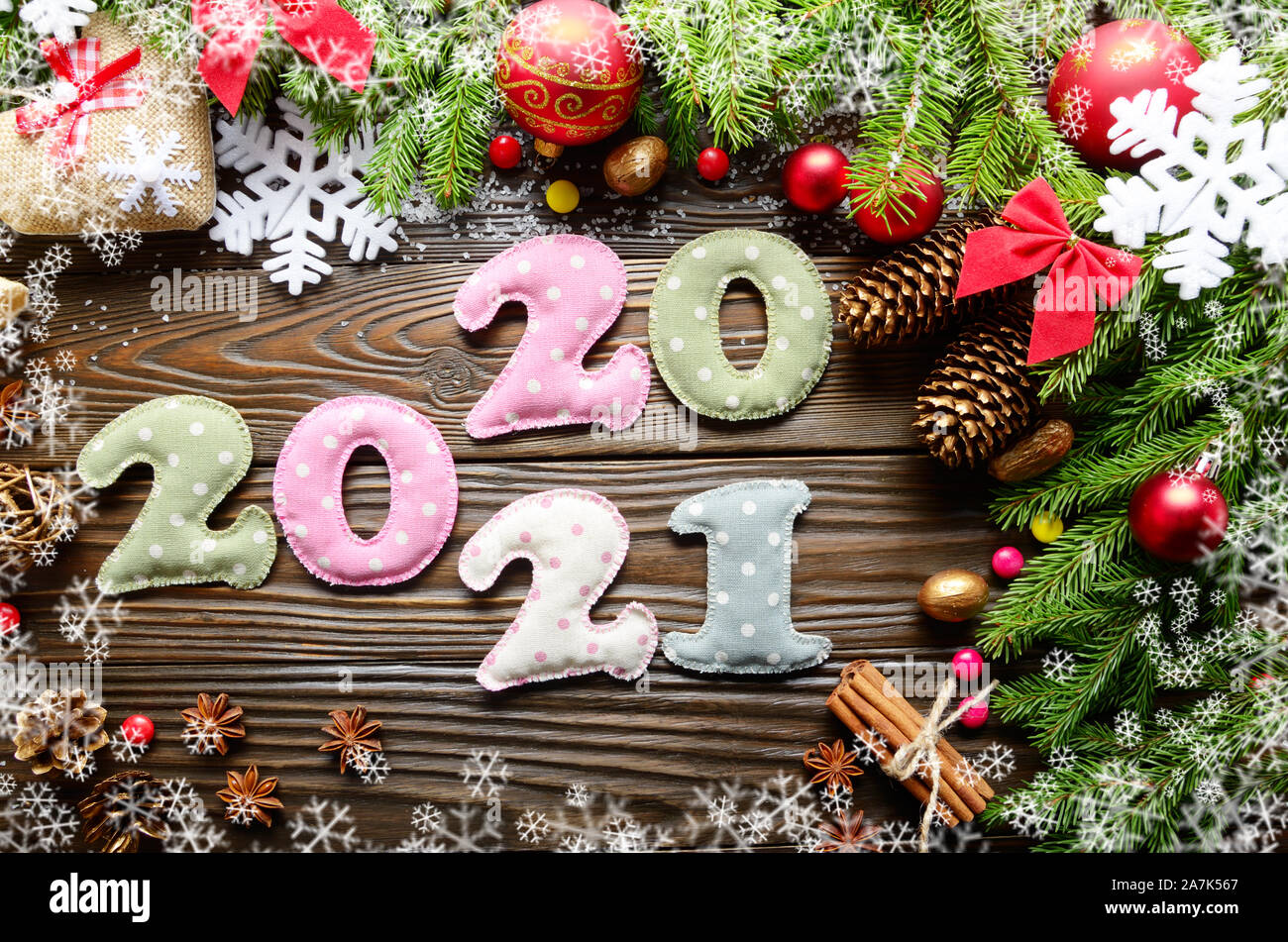 Christmas Fabric 2021 Release Colorful Stitched Digits 2020 2021 Of Polkadot Fabric With Christmas Decorations Flat Lay On Wooden Background Stock Photo Alamy