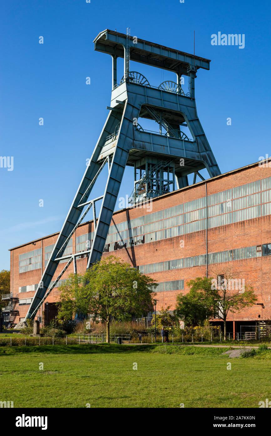 D-Herten, Ruhr area, Westphalia, North Rhine-Westphalia, NRW, hard coal mining, coal-pit Ewald 1/2/7, shaft 7, pit tower, magazine, depot, Route of Industrial Heritage Stock Photo