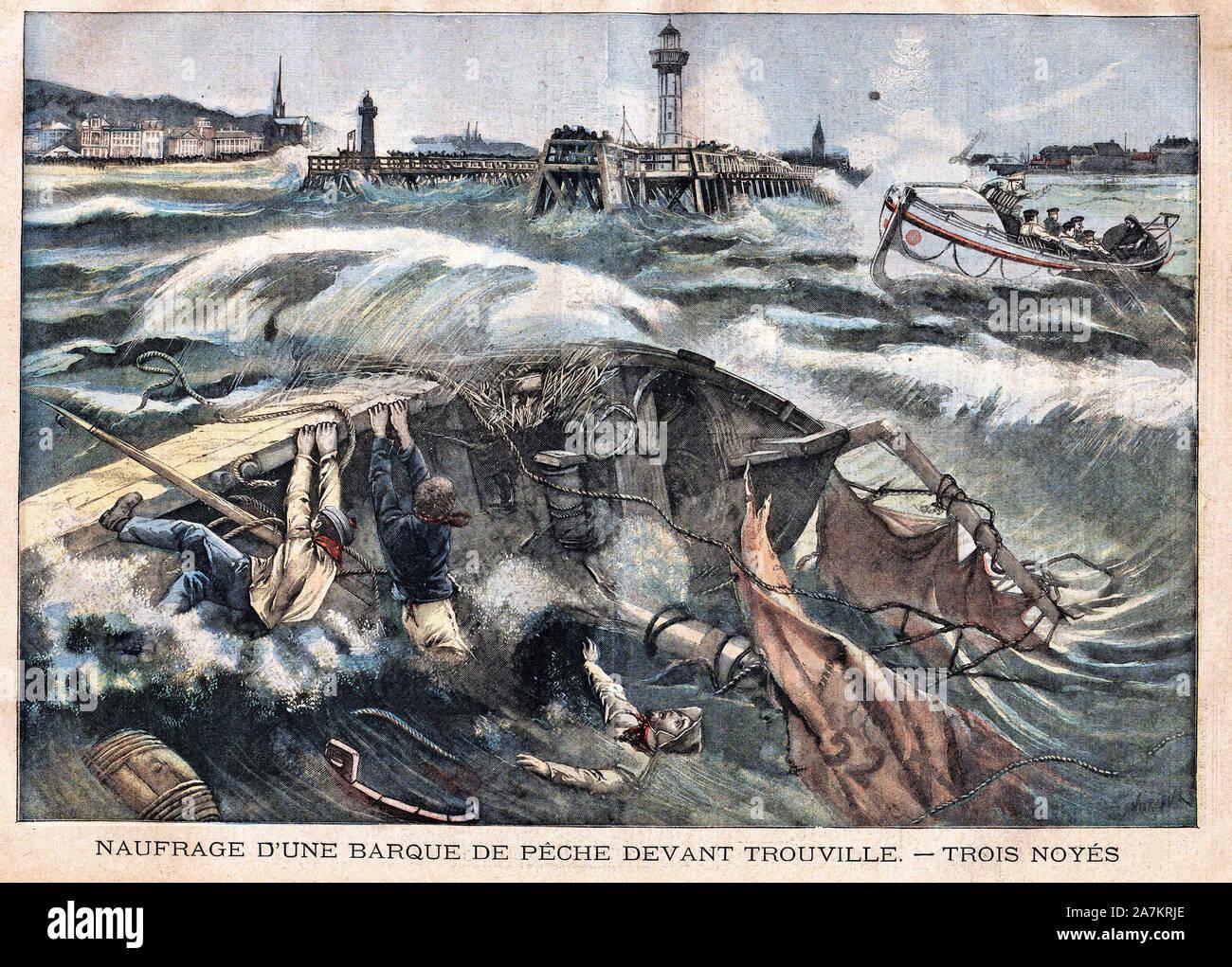 """Le bateau de peche Jeanne Elisabeth fait naufrage à Trouville, le long des cotes de la Manche. Gravure in """"Le Petit Parisien"""", le 15/01/1905. Stock Photo"""
