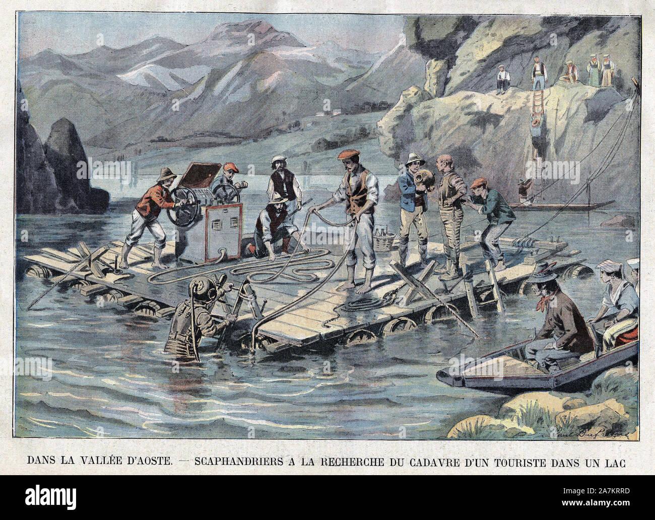 """Recherche par un scaphandrier du corps d'un touriste noye dans un lac de la vallee d'Aoste (Italie). Gravure in """"Le Petit Parisien"""", le 02/09/1906. Stock Photo"""