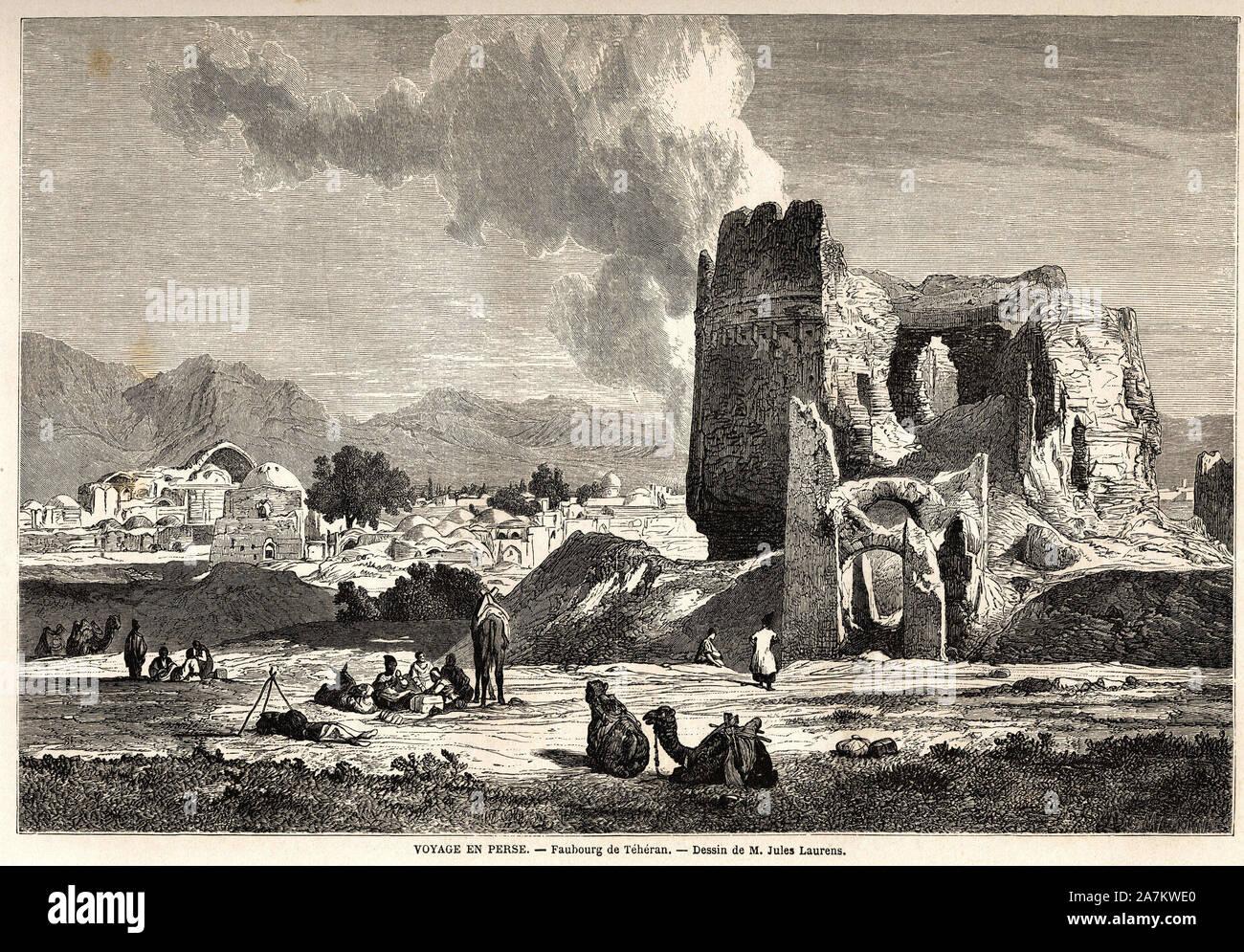 Les faubourgs de Teheran (Iran actuel). Dessin de Jules Laurens (1825-1901), pour illustrer le voyage en Perse, de 1855 a 1858, d'Arthur Gobineau (181 Stock Photo