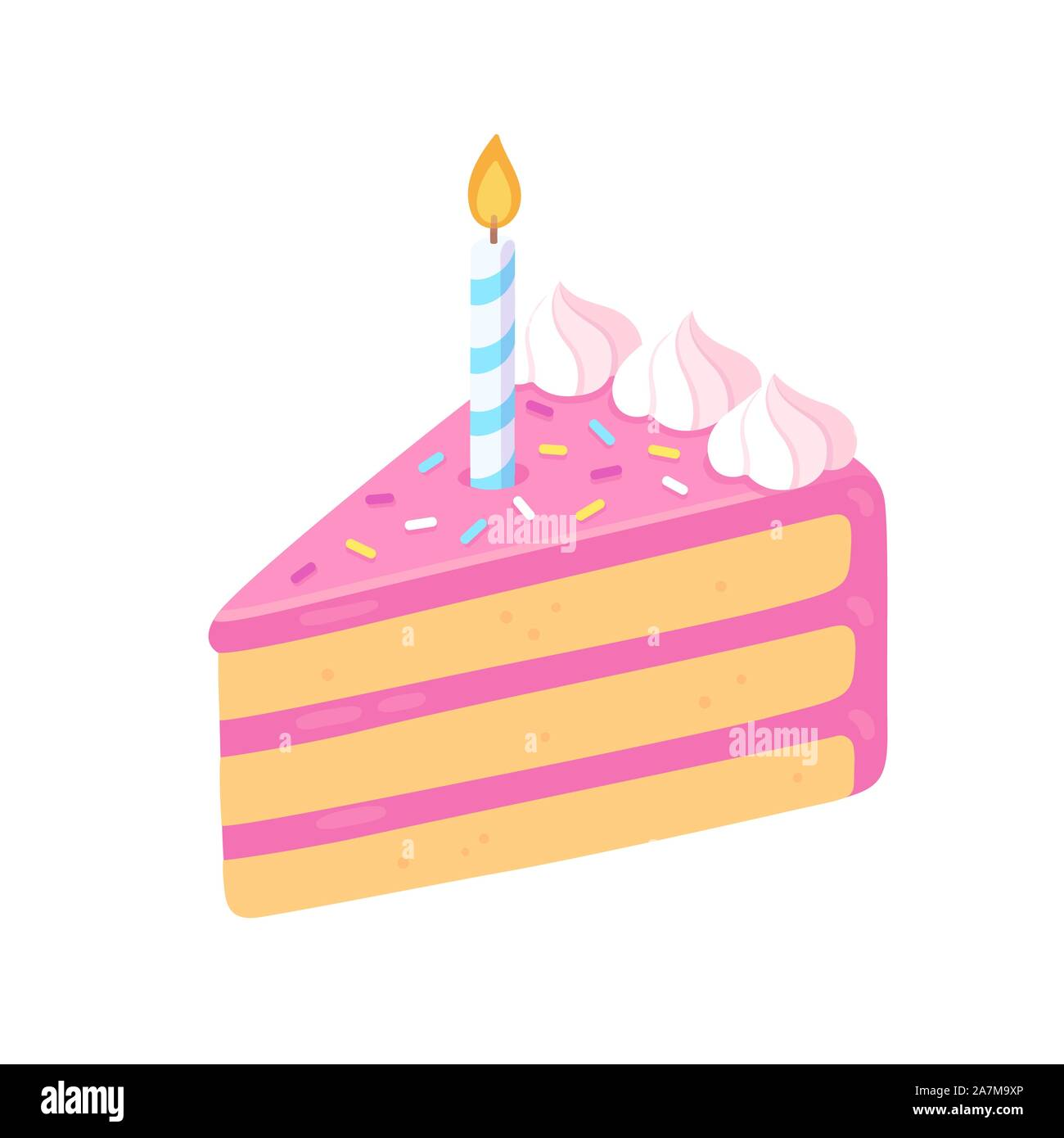 Slice Of Birthday Cake With Candle Pink Frosting And Sprinkles Happy Birthday Greeting Card Design Element Cartoon Style Isolated Vector Clip Art I Stock Vector Image Art Alamy