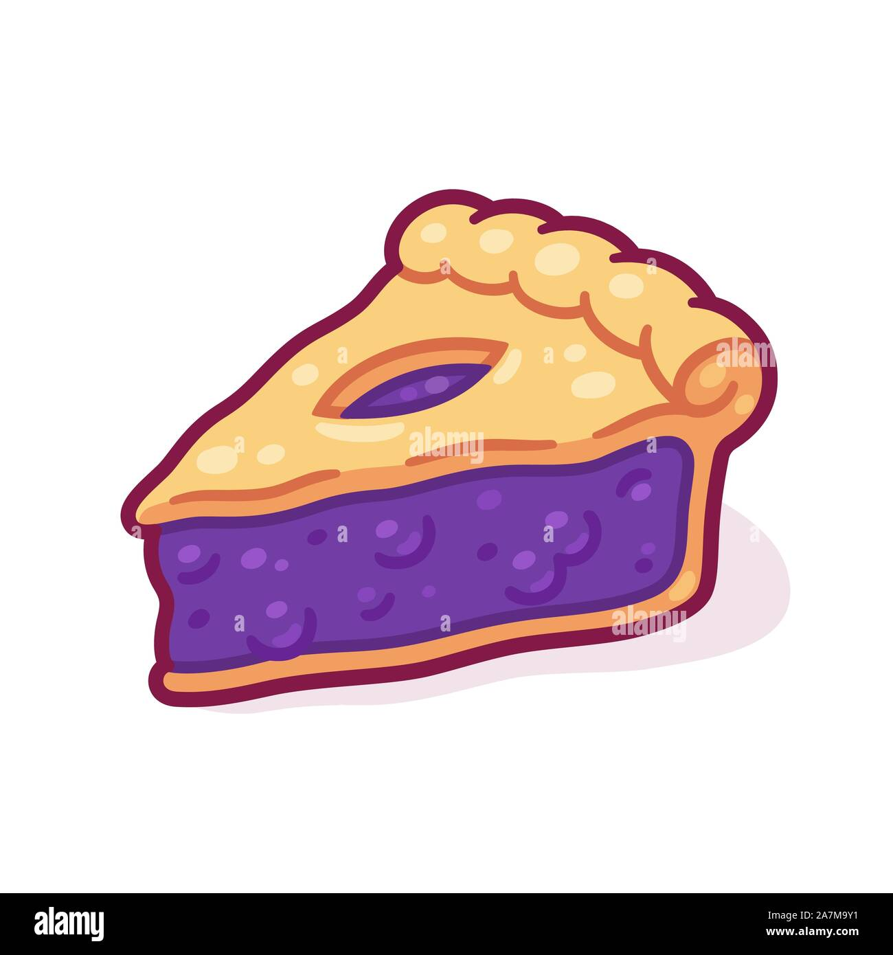 Cute Cartoon Blueberry Pie Drawing Hand Drawn Slice Of Traditional Berry Pie Isolated Vector Illustration Stock Vector Image Art Alamy