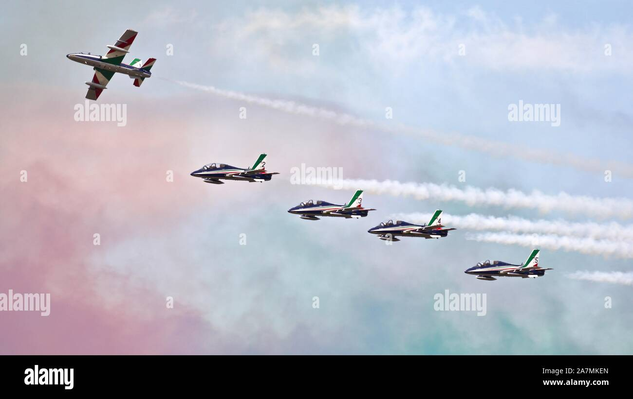 Italian Air Force Frecce Tricolori the world's largest military aerobatic team  performing at the Royal International Air Tattoo 2019 Stock Photo