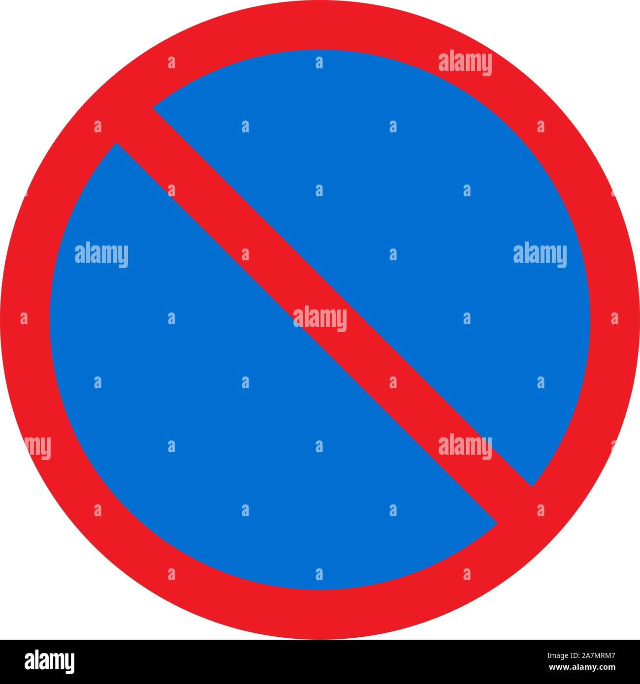 No entry traffic sign vector illustration -Blue red Circle road symbol. Stock Vector