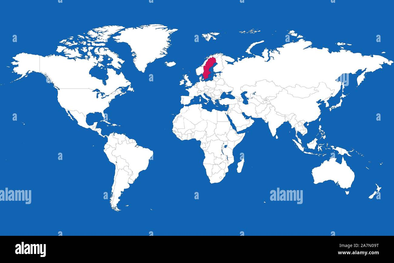 sweden in world map World Map Highlighted Sweden With Pink Color Vector Illustration